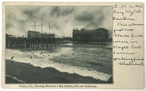 Postcard Venice CA Marchetti's Ship Cabrillo Pier Auditorium California 1900's