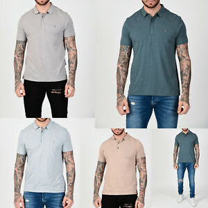 All-Saints-Mens-New-Designer-Collared-Smooth-Cotton-Blend-Polo-Shirt-T-shirt-Tee