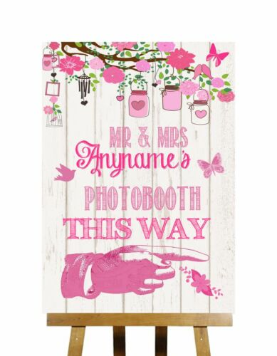 Pink Rustic Wood Effect Photobooth This Way Right Personalised Wedding Sign