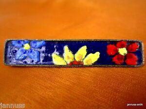 alte-Brosche-emailliert-wohl-Perli-Handarbeit-Florales-Dekor-edel-amp-wertvoll