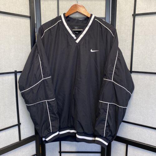 Nike Pull Over V-neck Windbreaker Black Mesh Lined