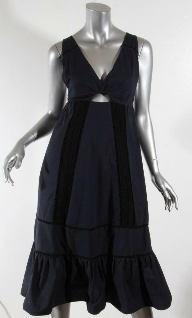 THAKOON damen Navy+schwarz Lace Sleeveless Cutout Empire Waist Midi Shift Dress 0