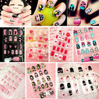 New Multicolor French False Nails Nail Art Design Nail Tips With Glue 24pcs/Pack