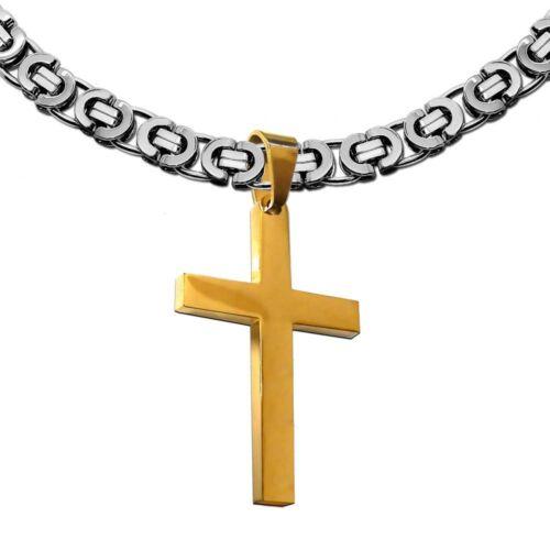 Plat roi chaîne pendentif Croix Croix Messieurs Chaîne Hommes Collier en acier inoxydable