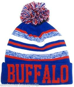 Buffalo Bills Blue   Red Classic POM Ball Knit Hat Cap Winter Ski ... a6da0197e