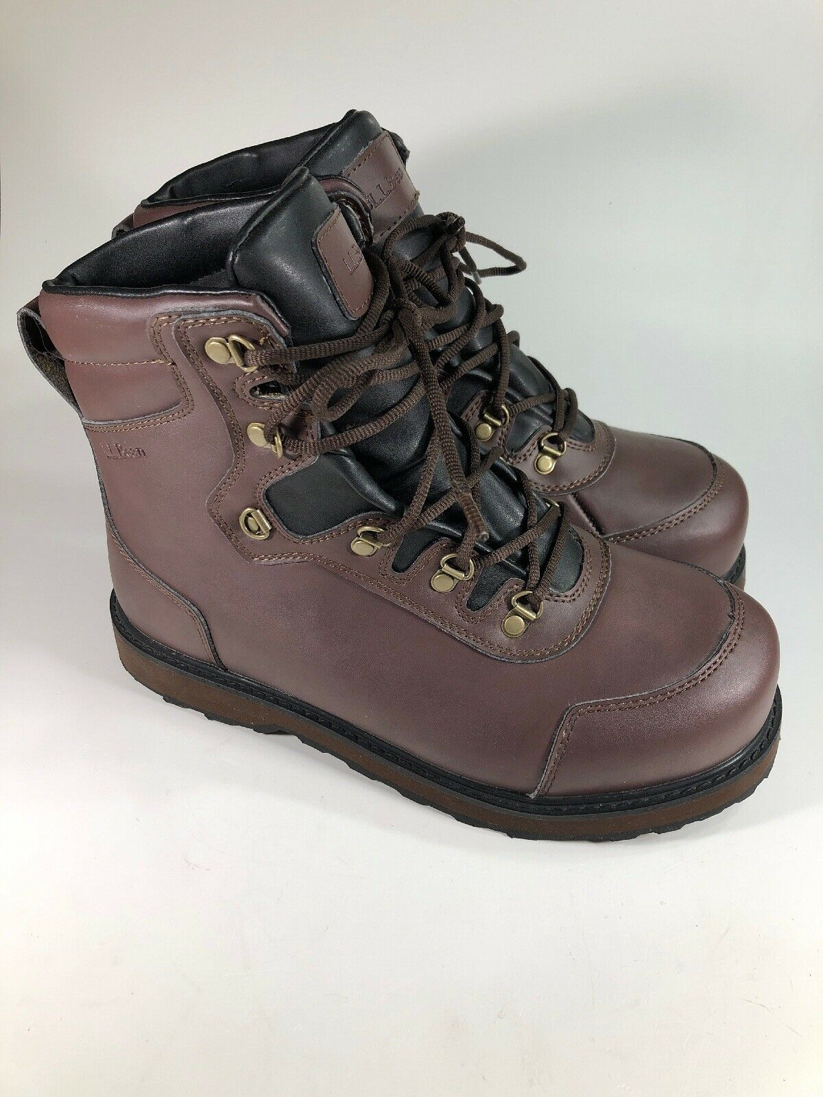 sports shoes 27d81 231b3 LL Bean Nearly New Pleasent River Wading Boots Brown Lace Up Mens Size 9 M