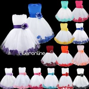 Flower-Girl-Kid-Formal-Wedding-Bridesmaid-Party-Princess-Dress-Junior-Age-2-14Y