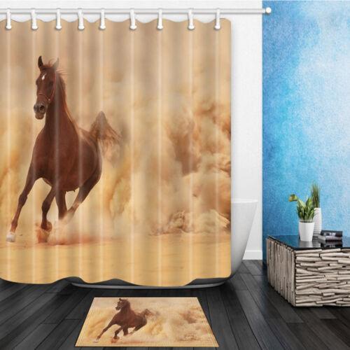Horse Running In Desert Sand Bathroom Fabric Shower Curtain Set With Hooks 71In