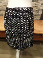 Elie Tahari Alexis Skirt Black Tweed Metallic Multi Short Fringed Size 10 $298