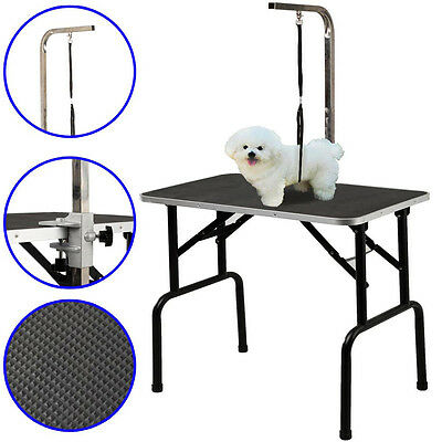 New Adjustable Pet Dog Cat Grooming Table Dog Show W/Arm&Noose Rubber Surface