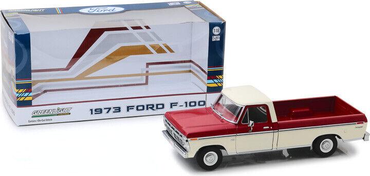 1 18 1973 Ford F-100 rojo y blancoo de dos tonos verdelight