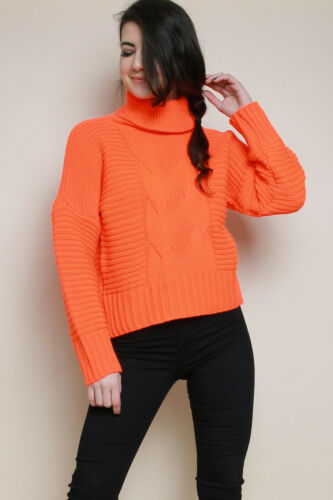 Womens Ladies Chunky Knitted Roll Over High Neck Polo Neck Jumper Top Sweater