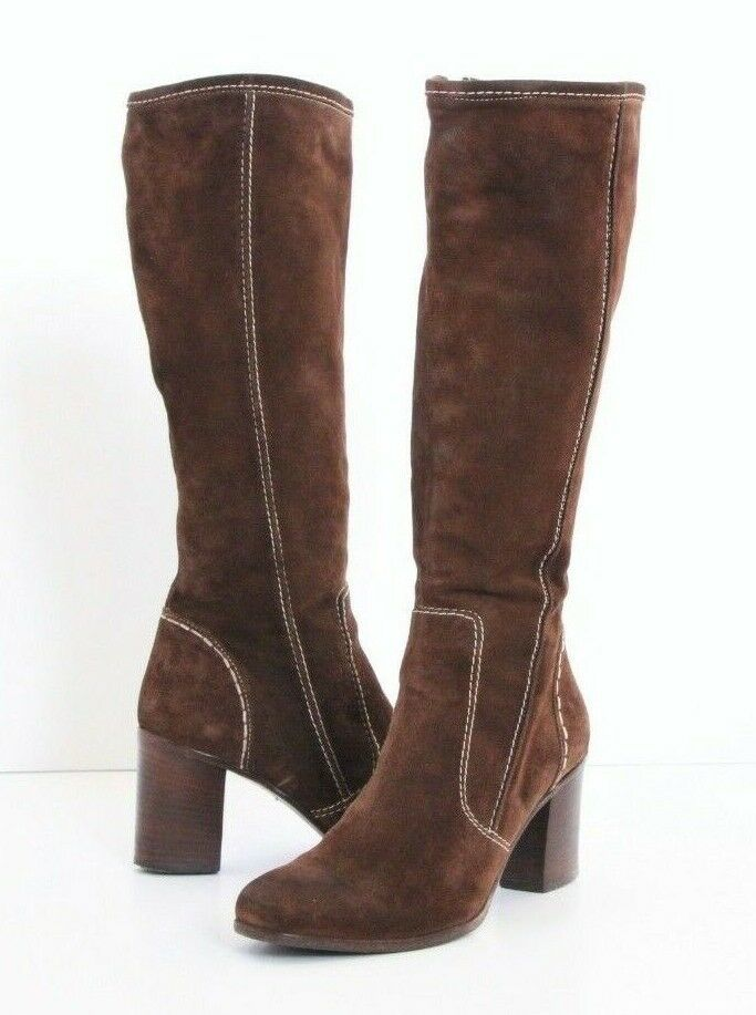 Alberto Fermani Suede Knee High Boots Womens 7.5 37.5 Brown Leather  Luxury