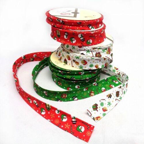 Adaptado 1 Metro de 30mm o 18mm Navidad doblado Sesgo Unión Navidad Candy Canes