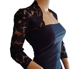 Black Lace 3 4 or Short sleeve Bolero shrug size 8 to 18 UK ... 1fb017632
