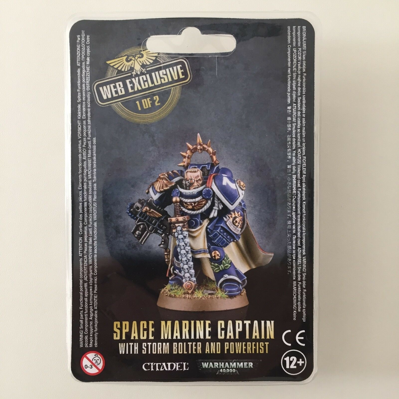 SPACE MARINE CAPTAIN WITH STORM BOLTER AND POWERFIST WEB EXCLUSIVE 40K RED 543