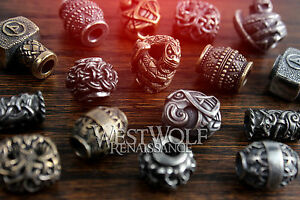 Viking-Jewelry-Beard-Beads-Silver-amp-Gold-Norse-Thor-Hammer-Raven-Necklace