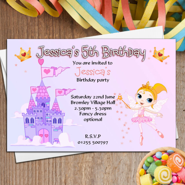 10 Personalised Girls Fairy Princess Castle Birthday Party Invitations No26