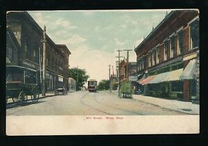 USA-Oh-Ohio-NILES-Mill-Street-Tram-P-Deibels-amp-Sons-store-c1902-u-b-PPC