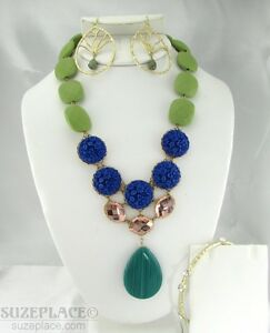DAVID-AUBREY-BLUE-amp-GREEN-STATEMENT-NECKLACE-TREE-OF-LIFE-EARRINGS-amp-BRACELET