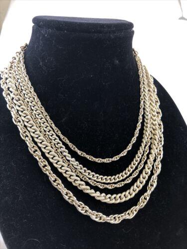 Multi-Chain Silver Tone Necklace - image 1