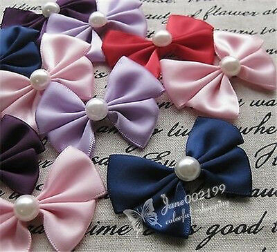 20pcs Satin Ribbon Bows Flowers Rose W/Bead DIY Wedding Decor Appliques RB088