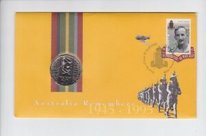 1945-1995-Australia-Remembers-WWII-Anniversary-Weary-50-Cent-Coin-Stamp-Set-PNC