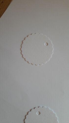 50 Universaletiketten//Anhänger für Hochzeit o.ä. ø3,8cm,weiß mit//ohne Loch