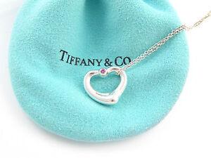 21ab5f4bd Tiffany & Co Peretti Open Heart Pink Sapphire Gemstone Necklace! | eBay