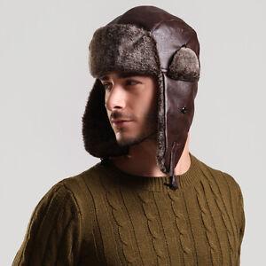Leather-Winter-Trapper-Aviator-Trooper-Earflap-Warm-Ski-Cap-Hat-For-Men-Women