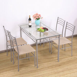 Details about 5PCS Glass Dinning Table Set 4 Upholstered Chairs Kitchen  Furniture Silver