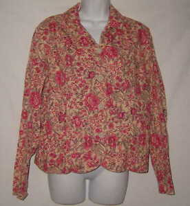 Coldwater-Creek-Shirt-Tan-Pink-Long-Sleeve-Button-Front-Blouse-Floral-Size-M