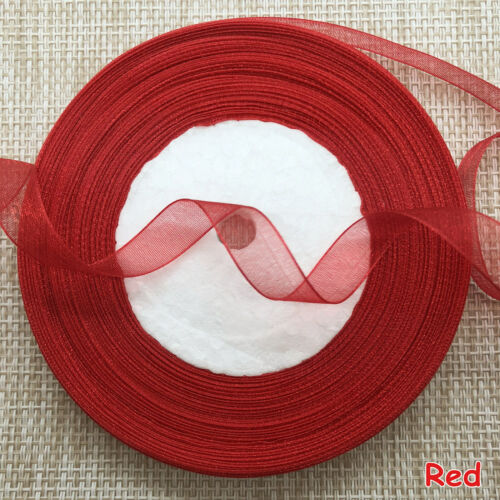 50yds Transparent Yarn Ribbons 10mm//15mm Satin Edge Sheer Organza Ribbon
