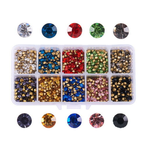 3450~3480pcs Glass Pointed Chaton Rhinestones Cabochons Jewelry Crystal Gems