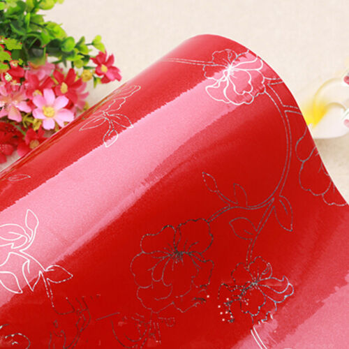 PVC Removable Wallpaper Cupboard Door Cover Self Adhesive Contact Paper Peony