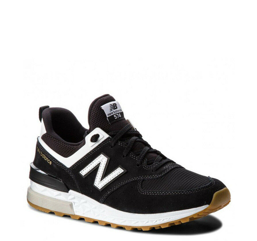New Balance Sneakers - MS574-FCB - Sport Suede Mens Lifestyle (Black White)