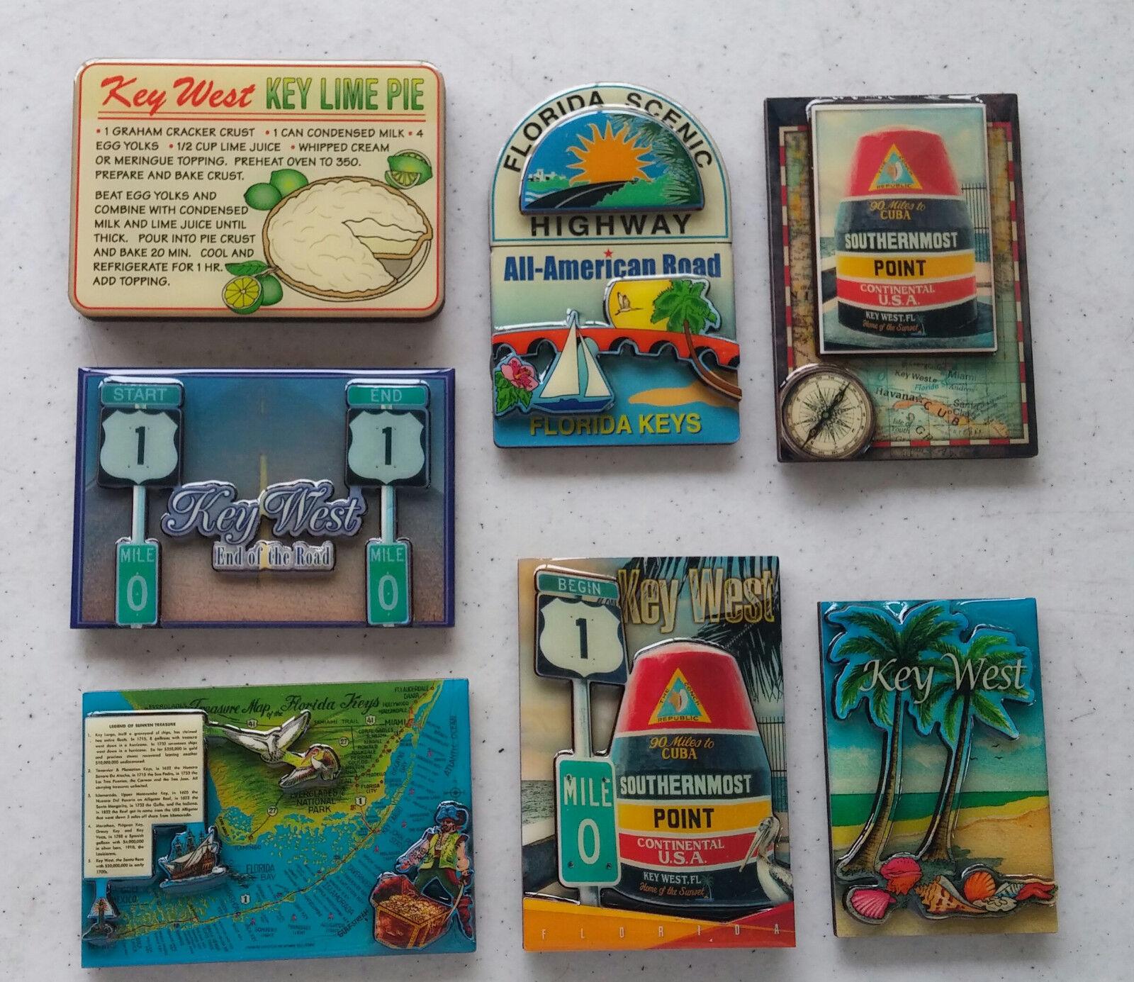 Key West 3 D Magnets Florida Keys SMP Mile 0 End US 1 Palm Tree Scenic FREE SHIP