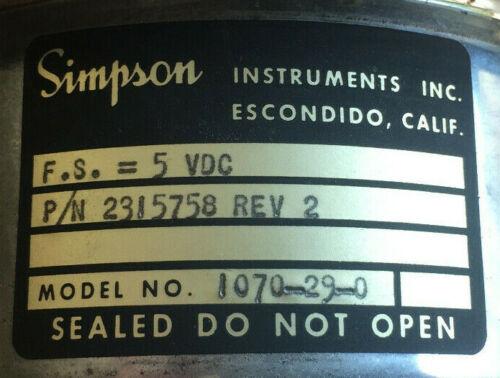 SIMPSON 2315758P1 ASYMMETRY PHASE METER MODEL 41 FS=5VDC 1070-29-0