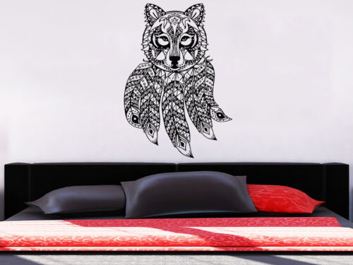 Wolf Wall Decal Dreamcatcher Dream Catcher Feathers Night Pattern Decor NS954