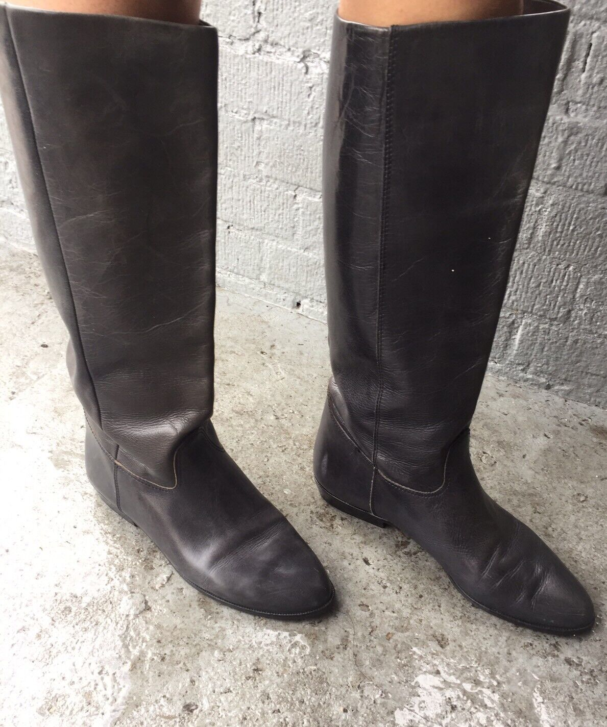 Black Leather Boot Nine West Tall Size 9 9 West
