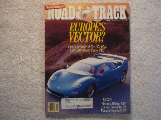 Road & Track 1992 April Mazda RX-7 Grand Am GT Saturn SL2 Cadillac Allante Olds