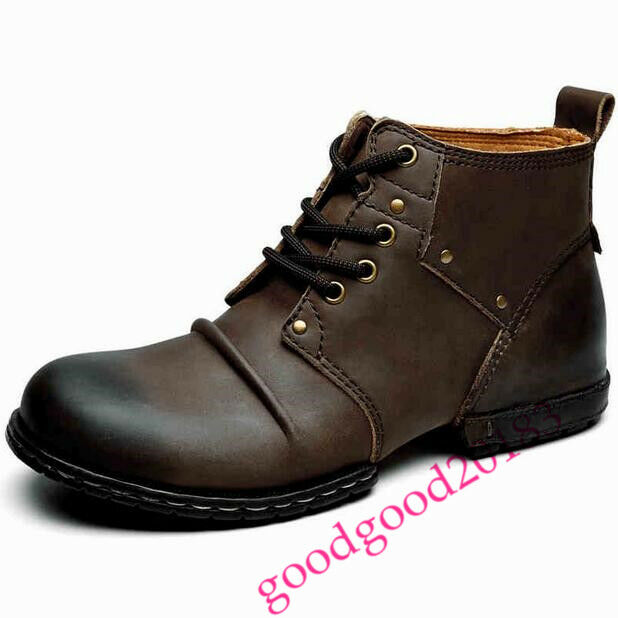 Uomo lace up military army leather British style Punk short boots ankle shoes sz