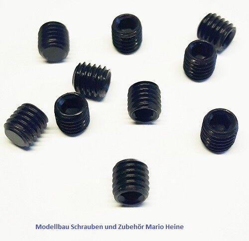 10 Stk Madenschraube DIN 913 Stahl 45H schwarz M4x6mm Gewindestifte