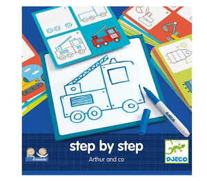 NEW DJECO LEARN TO DRAW STEP BY STEP ARTHUR COLOURING KIDS ACTIVITY SET AGE 3+