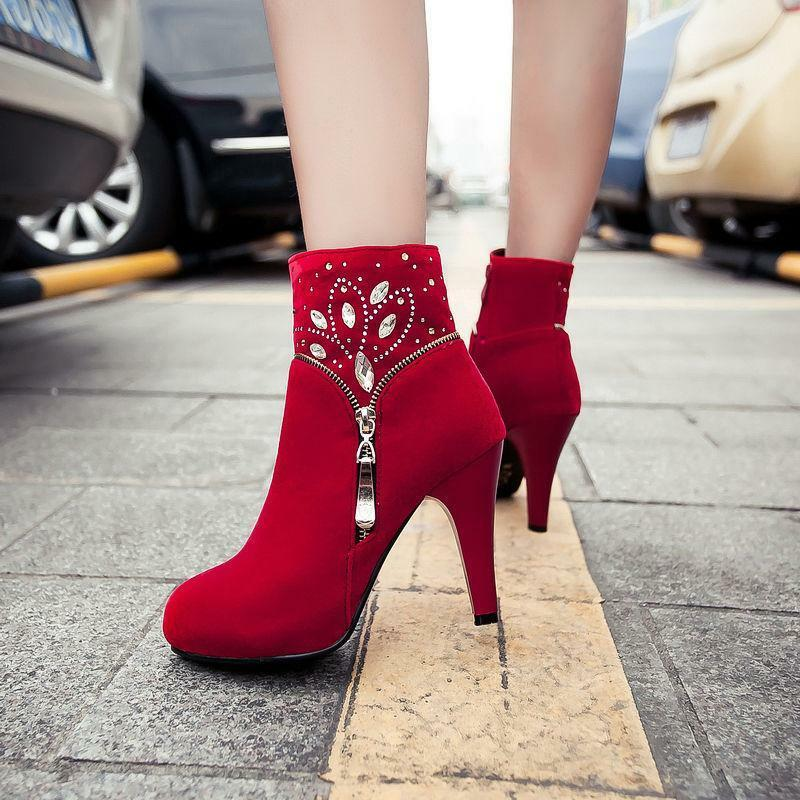 Ladies Rhinestone High Heels Ankle Boots Womens Pumps Faux Suede shoes Boots Hot