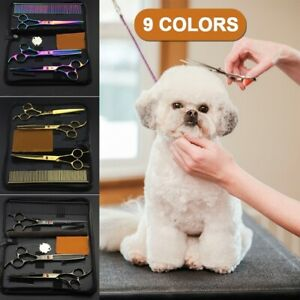 Pet-Dog-Grooming-Scissors-Kit-Curved-Thinning-Shears-Comb-Fur-Hair-Cutting-Tool