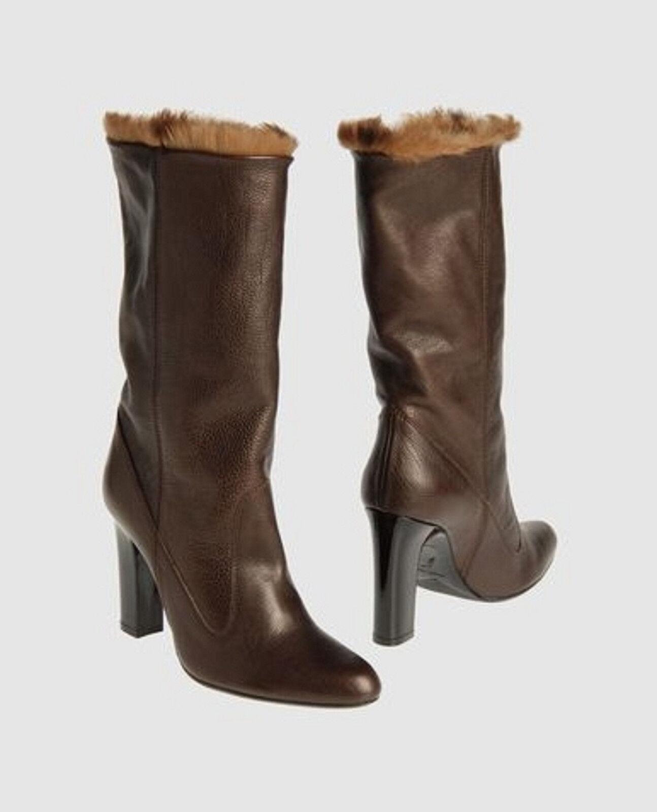 Nuevo En Caja Rene  Caovilla Cuero Cuero Cuero Marrón Forrada De Piel botas 39  servicio considerado
