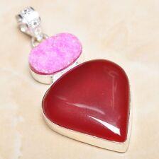"Handmade Cherry Ruby Natural Gemstone 925 Sterling Silver Pendant 2.5"" #P07898"