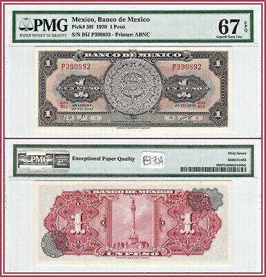 Mexico P-59L 1 Pesos Year Aztec Calendar Year 1970 Uncirculated Banknote
