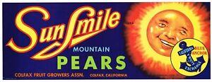 SUN SMILE  Pear Crate Label Colfax CA